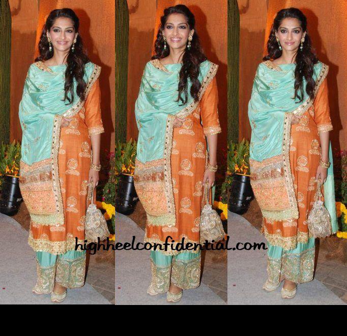Aqua & Orange on Sonam Kapoor