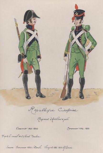 Republique Cisalpine; Regiment d'Artillerie a Pied. canonnier 1801-1802, canonnier 1802-1803.