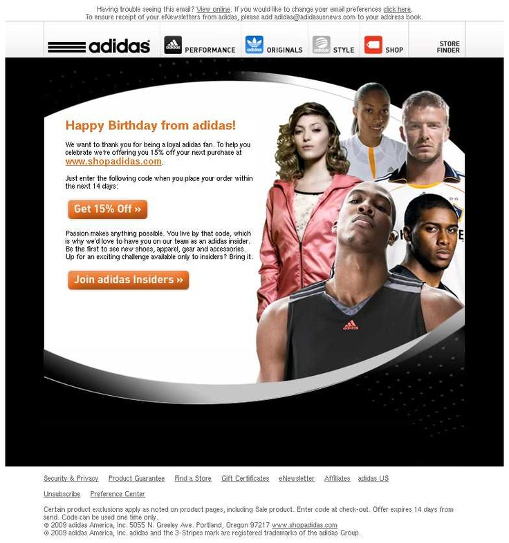 Birthday email adidas http://blog.newslettermonitor.com/life-cycle-messaging-birthday-emails