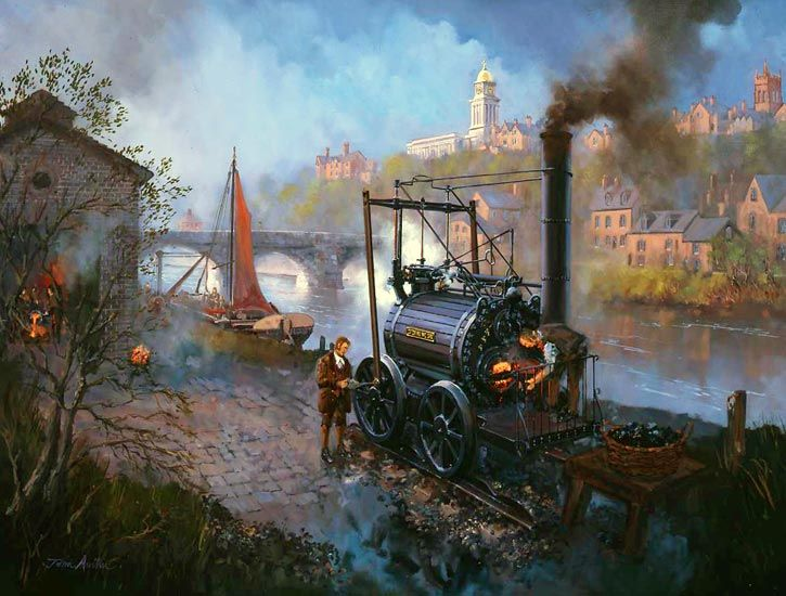 Railway painting.. Trevithicks first steam locomotive – Built at Bridgnorth...CATCH ME WHO CAN Trevithick steam locomotive..17