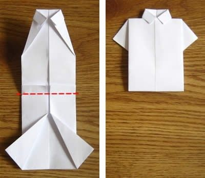 Fold a shirt to put on a card