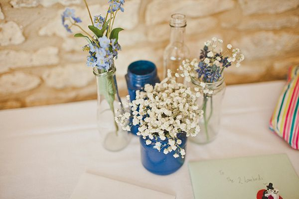 A Beautiful Brooch Bouquet For A 'Something Blue' Cotswolds Barn Wedding