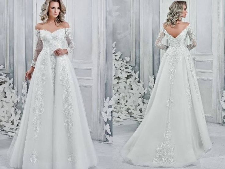 Mina - Nuage Volant Sheath Style Wedding Dress with Detachable Train /Off Shoulder / Corset / Poshfair
