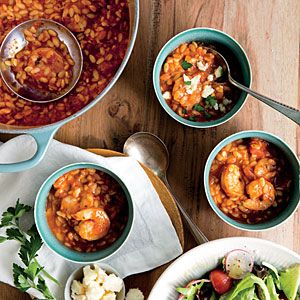 Shrimp Marinara Soup with Crumbled Feta - Quick and Easy Soups and Stews for Dinner Tonight - Cooking Light