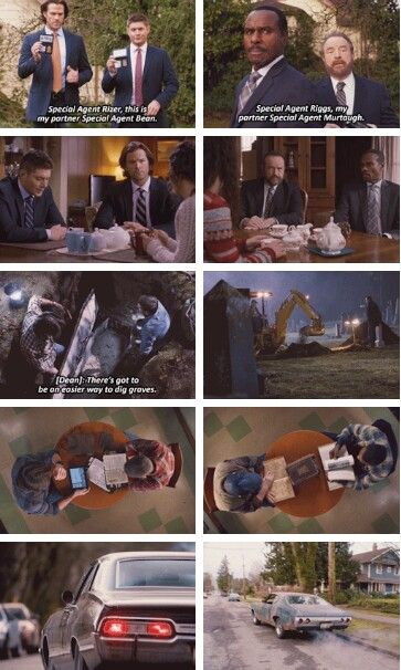 Parallel Dean & Sam / Bobby & Rufus Supernatural Season 11x16 Safe House <-This episode was spectacularly directed!