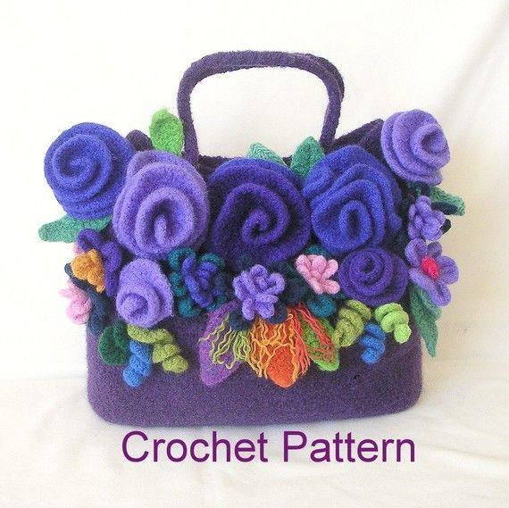 How to make Crochet Felted Flower Bag Pattern Tutorial, Crochet Bag Pattern…