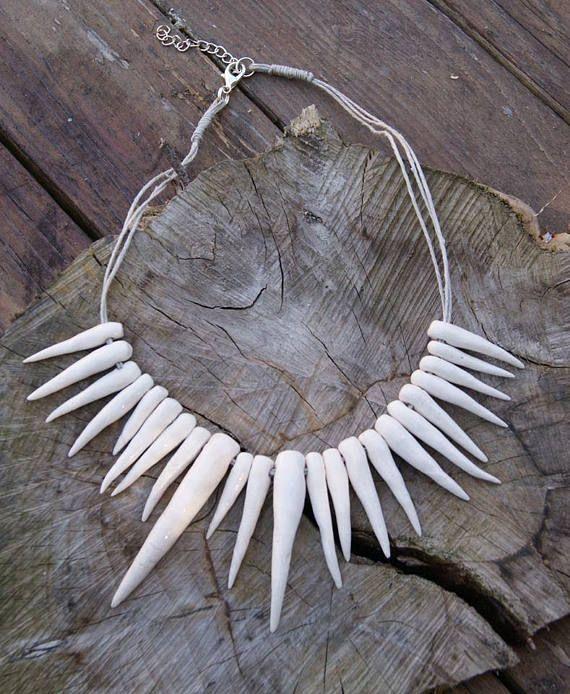 Ceramic teeth necklace, Handmade beads, ceramic teeth beads, teeth necklaces, linen necklace, necklace on the beach, summer necklace