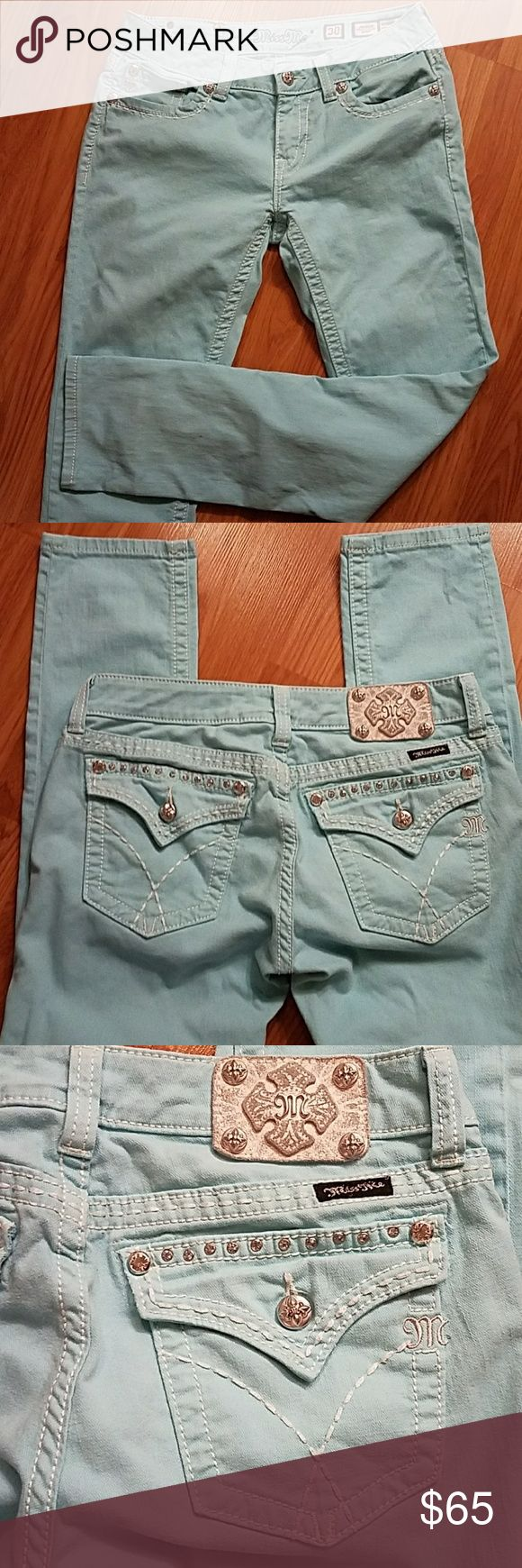 Miss me Skinny jeans Miss me skinny jeans  Size 30 Color ligth blue  Used in great condition. It has white stones on the back pockets. Miss Me Jeans Skinny