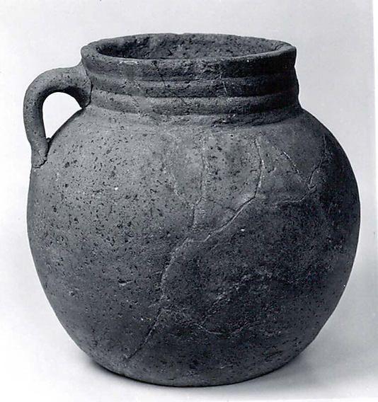 Jar  Period: Sasanian–early Islamic Date: ca. 6th–8th century A.D. Geography: Iran, Qasr-i Abu Nasr Culture: Sasanian or Islamic Medium: Ceramic Dimensions: 7.75 in. (19.69 cm)