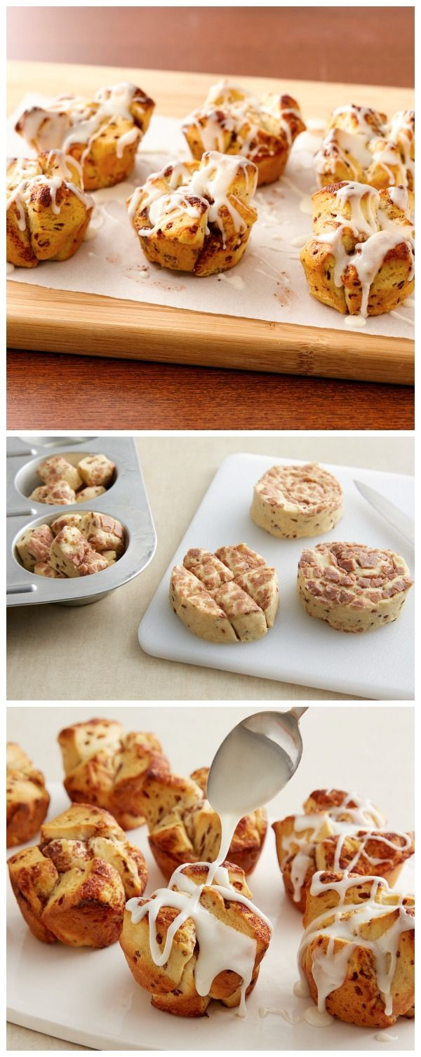 Need a fun breakfast idea for a crowd? Mini monkey breads from just 1 ingredient--Pillsbury cinnamon rolls!