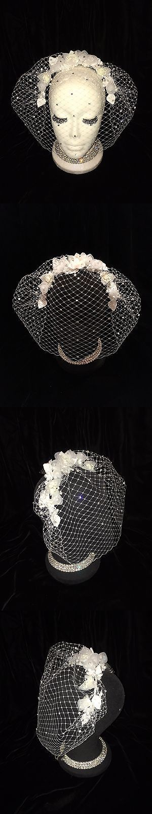 Fascinators and Headpieces 168998: White Ivory Flower Crystal Birdcage Veil Hair Comb. Bride Fascinator Vintage -> BUY IT NOW ONLY: $50 on eBay!