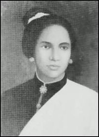 Cut Nyak Dhien (1848-1908), was one of the leaders of guerilla actions against the Dutch occupation of Indonesia. She fought Dutch on Aceh War alongside her first husband, Ibrahim Lamnga, and (after Lamnga died) her second husband, Teuku Umar. She kept fighting even after Teuku Umar died, until captured by The Dutch and exiled to Sumedang, West Java. To this day, her spirit and bravery inspires Acehnese (in particular) and Indonesians (in general).