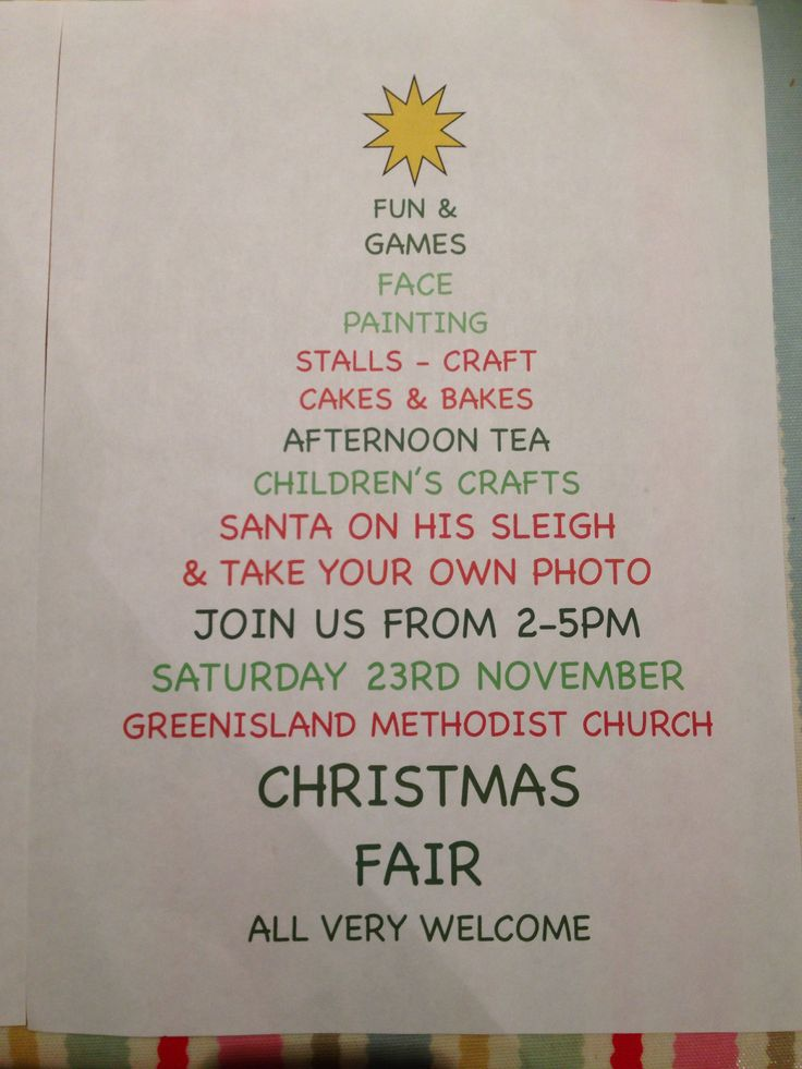 Christmas fair poster, based on an idea of one I had found on Pinterest!