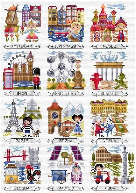 trip around the world DMC stitch along
