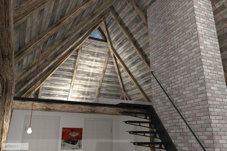 ....díky nově vzniklému schodišti lze vystoupat do galerie, která bude sloužit jako ložnice. www.ockodesign.cz