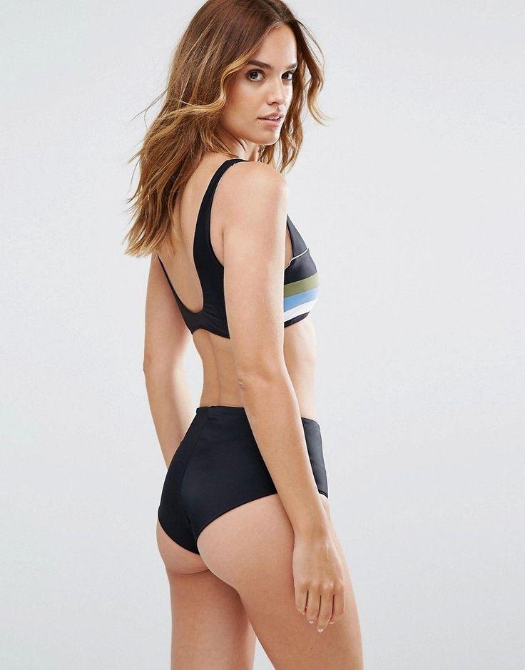 RVCA Stripe Sporty Bikini Top - Multi