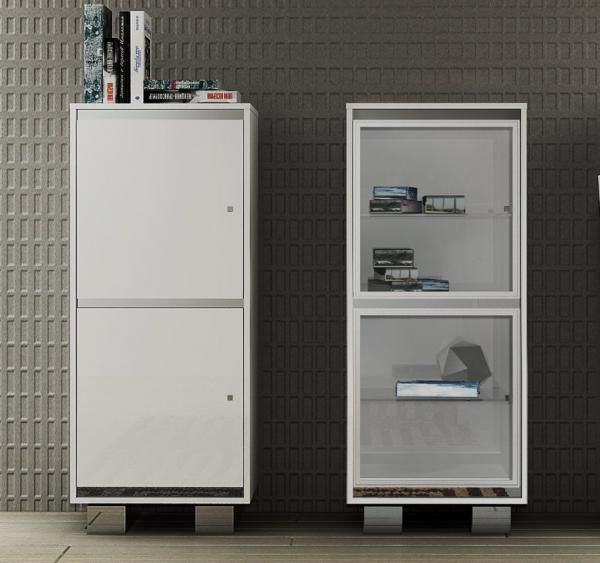 Caprice, Contemporary Small Cabinet With Doors In Wood/Glass Or Croco, By  Status