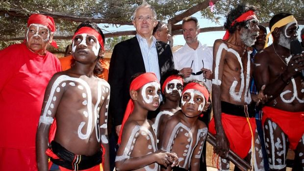 Prime Minister Malcolm Turnbull at the Kenbi land claim title deed handover ceremony in Darwin on Tuesday.