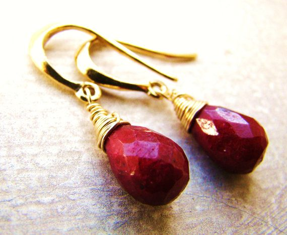 Indian Ruby Earrings in Gold or Silver. July by VeraidaGifts