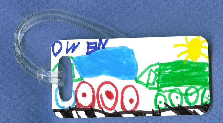 Luggage Tag created from the artwork of a child. The other side has the name,.. on it!