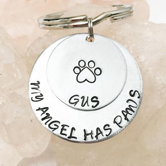 My Angel Has Paws Pet Loss Keychain Pet Remembrance Gifts