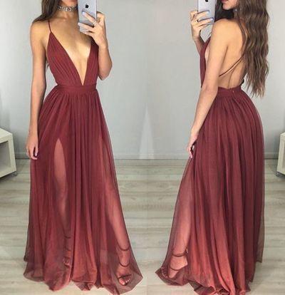 Long  Sexy Dark  Red  Chiffon  Prom Dress,A-line   Prom Dress , Dark V-neck Slit Side Prom Dress