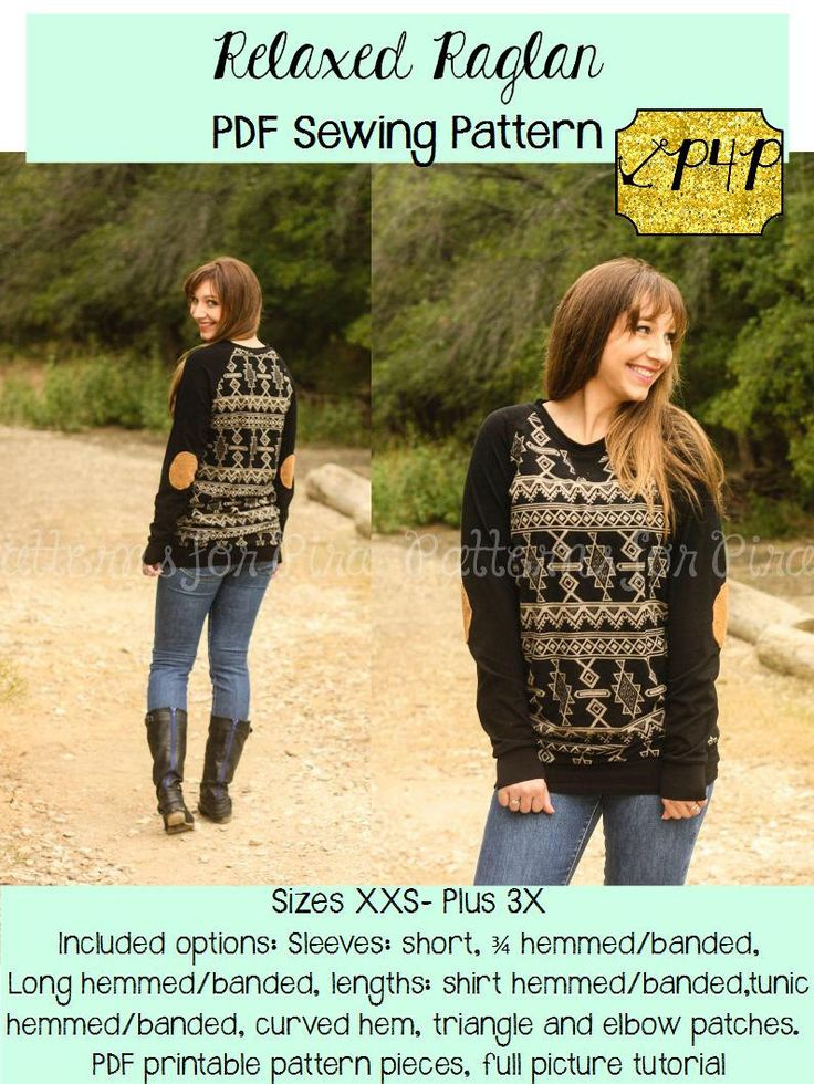 Women's Relaxed Raglan Shirt and Tunic Sewing PDF Pattern by Patterns for Pirates Sizes XXS-Plus#X Knit, Top, Long Short 3/4 Sleeve,Baseball by PatternsforPirates on Etsy https://www.etsy.com/listing/205345160/womens-relaxed-raglan-shirt-and-tunic