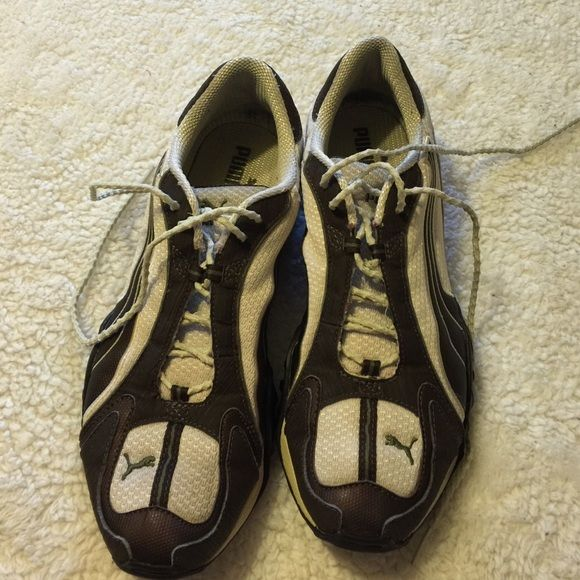 Puma Shoes woman's Puma chocolate brown & white shoes, it's in great condition Puma Shoes
