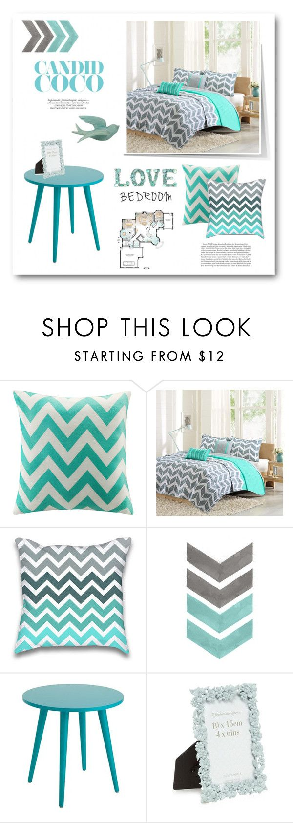 """Room re-do...#chevron #mint #grey #bedroom #decor #home #polyvore"" by fashionlibra84 ❤ liked on Polyvore featuring interior, interiors, interior design, home, home decor, interior decorating, Intelligent Design, WALL and bedroom"