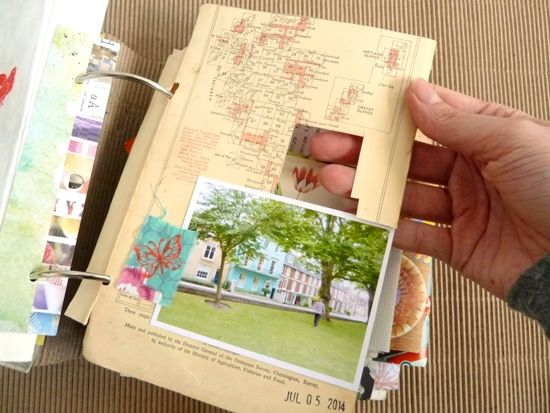 Using a map book cover as a page. Filling a Junk Journal: Inside my 'Summertime 2014' album *Part 1* by Julie Kirk