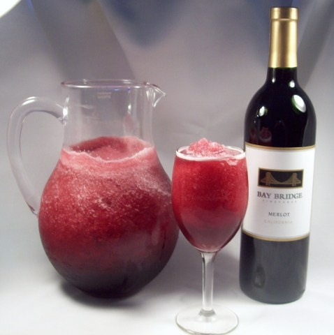 Wine Slush Recipe Slow Freeze Method: 1 Bottle (750ml) Merlot (or Cabernet) 1 Bottle (750ml) water 6 packets Bar-Tender Whisky Sour mix powder 1 scoopful iced-tea mix powder mix all together in container big enough for shaking and freeze overnight or for at least several hours until slushy. Shake well before serving.