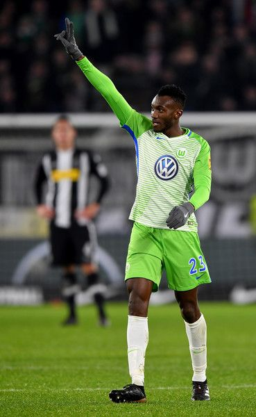 Joshua Guilavagui of Wolfsburg celebrates after he scores the 3rd goal during the Bundesliga match between VfL Wolfsburg and Borussia Moenchengladbach at Volkswagen Arena on December 3, 2017 in Wolfsburg, Germany.