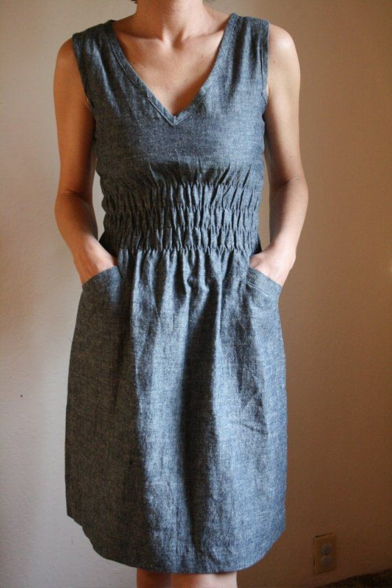 Fiji dress from the women's collection in a shirt-weight indigo denim made from organic cotton and hemp, on Etsy.