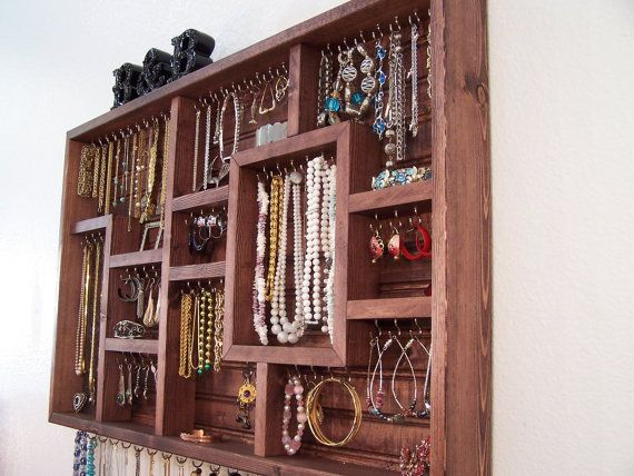 Cherry Stained Craft Fair Jewelry Display Case Organizer