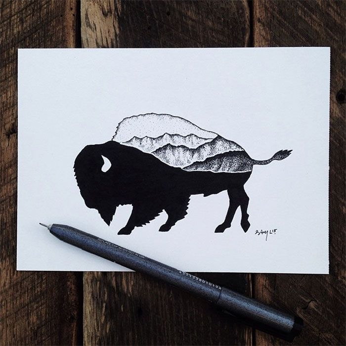 black-white-animal-landscape-hybrid-drawings-sam-larson-steel-bison-1