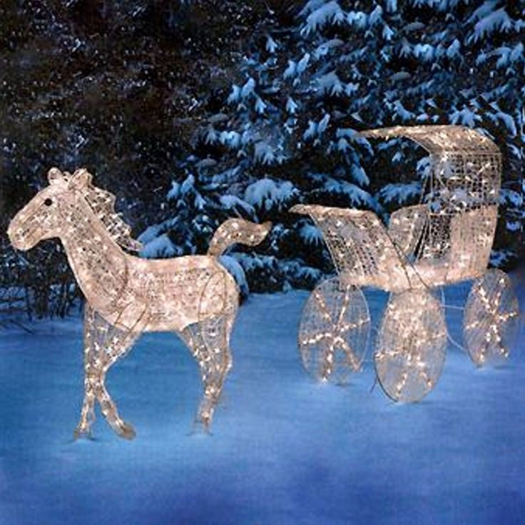 Outdoor Lighted Horse Carriage Display Scene Christmas Jpg