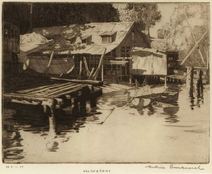 """Halvorsens"" by Cedric Emanuel. Not the Bobbin head boatshed, but I couldn't resist this beautiful sketch"