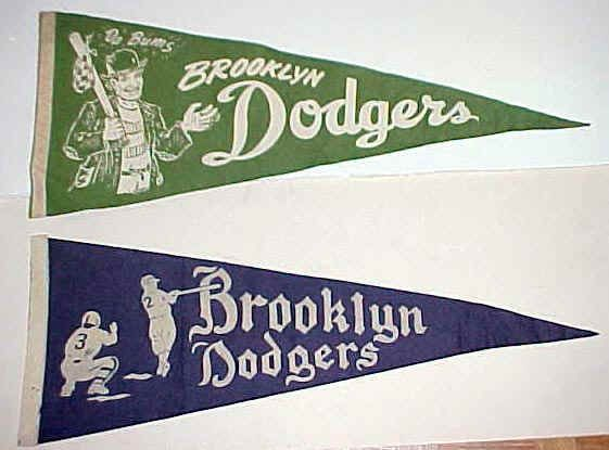 Vintage Brooklyn Dodgers Da Bums Ebbets Field Pennants