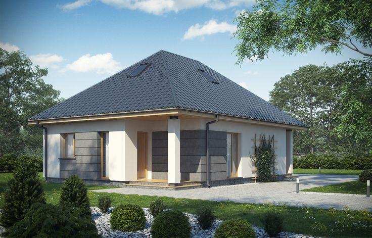 Skierowany do naszych klientów, szukających niewielkiego, nowoczesnego domu parterowego z możliwością adaptacji nieużytkowego poddasza