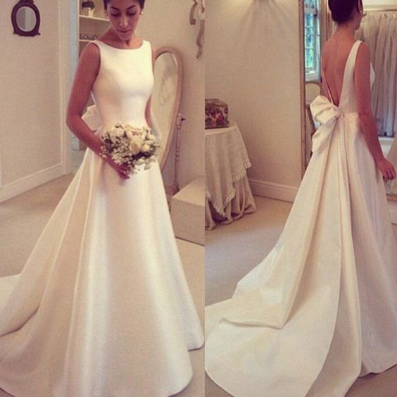 Elegant A-line Simple Open Back Bowknot Sweep Train Wedding Dresses The wedding dresses are fully lined, 4 bones in the bodice, chest pad in the bust, lace up back or zipper back are all available, to