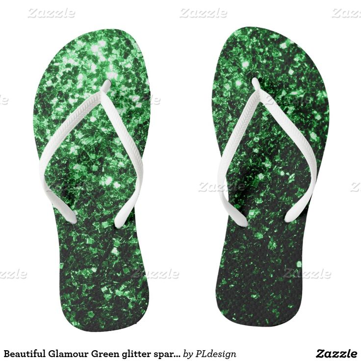 Beautiful Glamour Green glitter sparkles Flip Flops