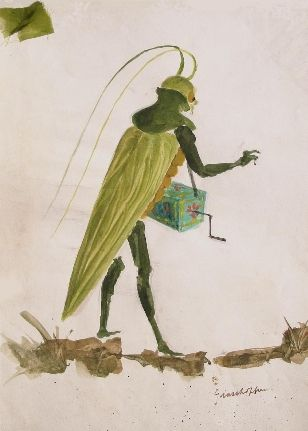 The Cunning Little Vixen Barry Kay's costume design for the Grasshopper with hurdy-gurdy direction Colin Graham conductor Colin Davis Sadler...