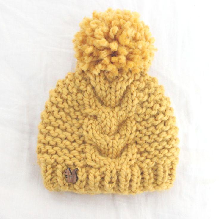 Padrão de tricô grátis - Padrão de chapéu de cabo de criança super volumoso