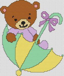 Umbrella Bear Cross Stitch Pattern