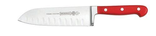 """Mundial 5100 Series 7"""" Hollow-Edge Santoku Knife, Red by Mundial Inc.. $45.83. Comes with a lifetime guarantee. Perfectly balanced ergonomic 3-riveted red handle. Quality and performance independently tested and verified. Long-lasting razor-sharp edge. Fully forged, with a full tang and high-carbon stainless steel blades. Mundial's 5100 Series Red adds a burst of color and contemporary style to a classic assortment of premium fully forged cutlery.  A chef's true in..."""