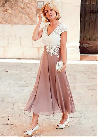 3e65f60f6b Wonderful Tulle   Chiffon V-neck Neckline Tea-length A-line Mother Of The  Bride Dress With Lace Appliques