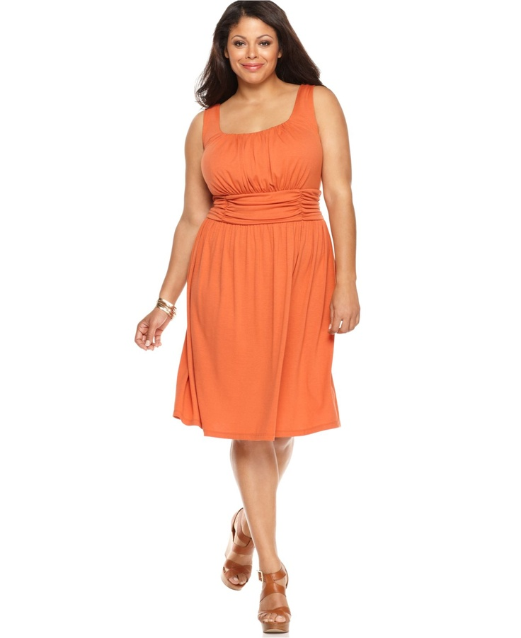 Secret Garden: AGB Plus Size Dress, Sleeveless Ruched