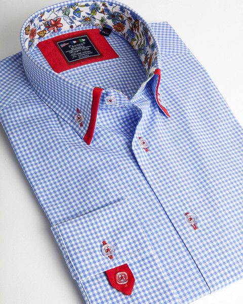 Gingham blue double collar shirt