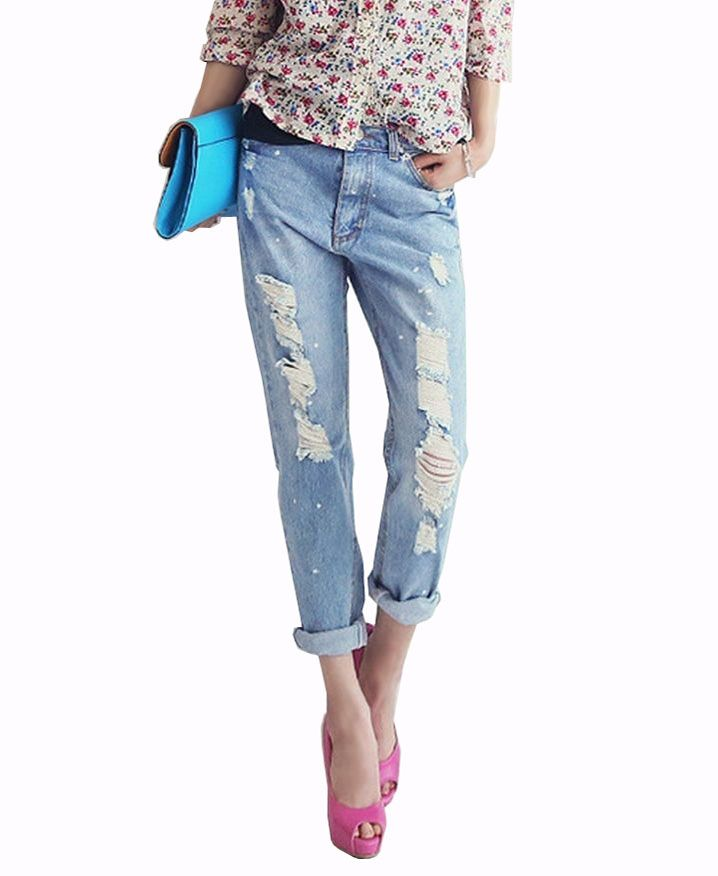 Washed Ripped Loose Fit Jeans