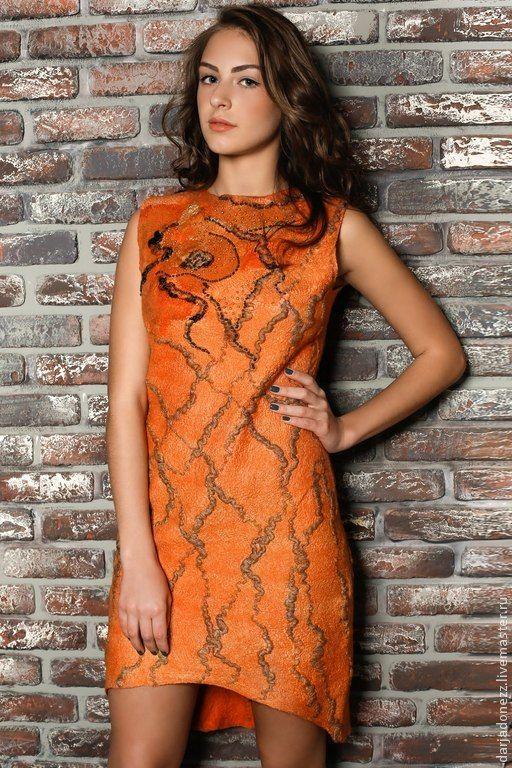 """Купить Платье """"Огненное золото"""" - оранжевый, платье, платье валяное, платье шелкове, платье шерстяное"""